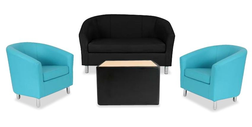 An image of Tritium Next Day Coloured Faux Leather Sofa, Tub Chair & Coffee Table Bundle