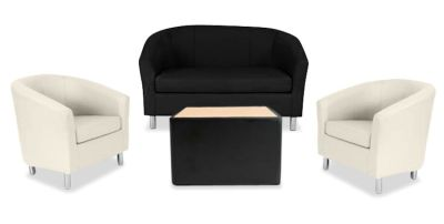 Tritium NEXT DAY Coloured Leather Sofas Bundle Cream Black