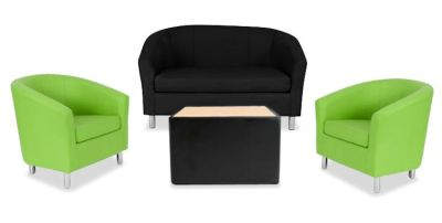 Tritium NEXT DAY Coloured Leather Sofas Bundle Green Black
