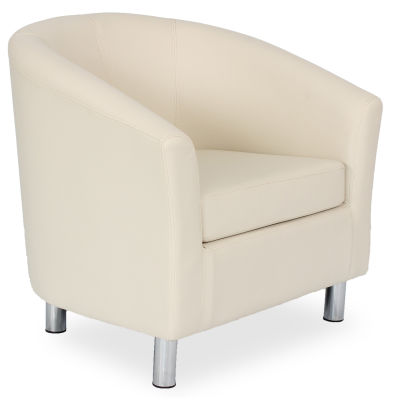 Tritium Tub Chair In Cream 45 Side View