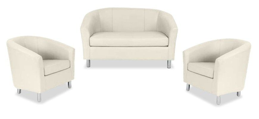 Tritium Next Day Coloured Leather Sofas Bundle 2 Cream