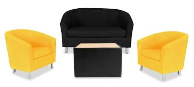 Tritium NEXT DAY Coloured Leather Sofas Bundle Yellow
