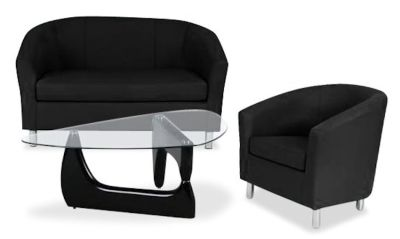 Tritium Coloured Leather Sofas Bundle 6 Black