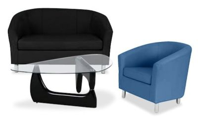 Tritium Coloured Leather Sofas Bundle 6 Dark Blue