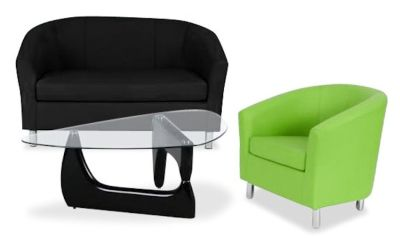 Tritium Coloured Leather Sofas Bundle 6 Green
