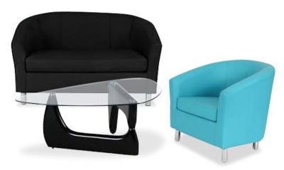 Tritium Coloured Leather Sofas Bundle 6 Light Blue