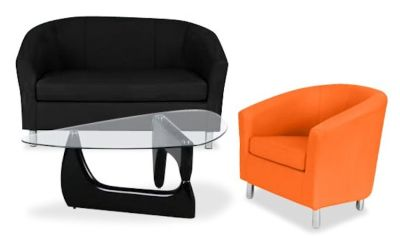 Tritium Coloured Leather Sofas Bundle 6 Orange