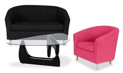 Tritium Coloured Leather Sofas Bundle 6 Pink