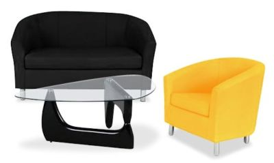 Tritium Coloured Leather Sofas Bundle 6 Yellow