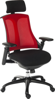 Rapport Mesh Chair With Red Mech Back And Headrest Angle View