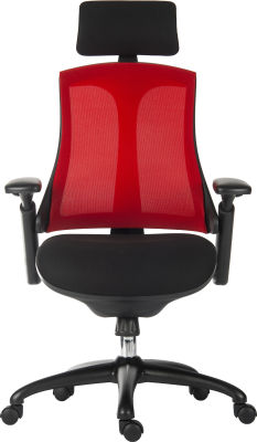 Rapport Mesh Chair With Red Mesh Back And Headrest Front View