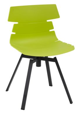 Foxton Plastic Chair With A Swivel Base And Lime Seat And Back