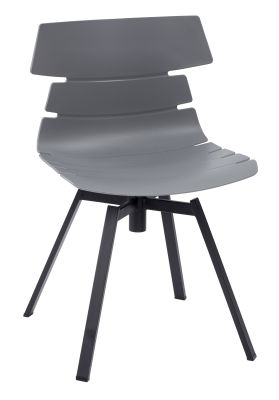 Foxton Chair With A Grey Shall And Black Steel Swivel Base