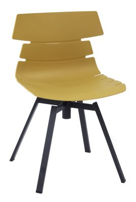 Foxton Chair With A Mustard Shell And Black Metal Swivel Frame