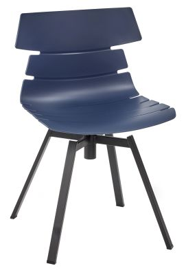 Foxton V10 Chair With A Navy Blue Shell And Black Metal Swivel Base