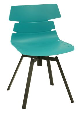 Foxton V10 Chair Wit A Turquoise Shall And Black Swivel Base