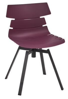 Foxton V10 Chair With A Plum Seat And Black Swivel Base