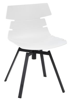 Foxton V10 Chair With A White Shell And Black Swivewl Base