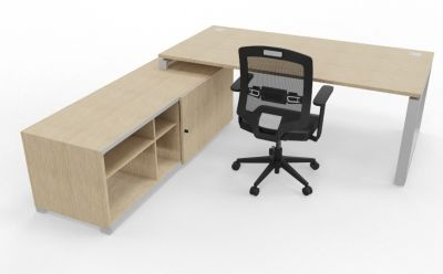 Prestige Loop Desk With Returned Storage With Sliding Door Bleached Oak Rear