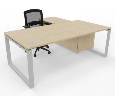 Prestige Loop Desk With Returned Storage With Sliding Door Bleached Oak