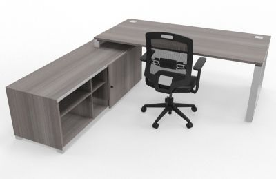 Prestige Loop Desk With Returned Storage With Sliding Door Cedar Rear