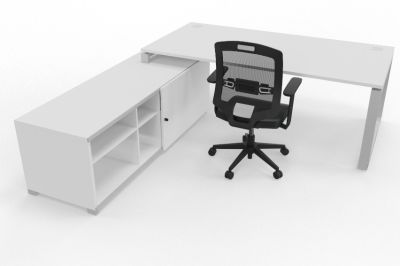 Prestige Loop Desk With Returned Storage With Sliding Door White Rear