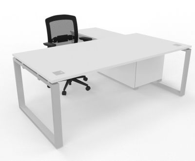 Prestige Loop Desk With Returned Storage With Sliding Doors White