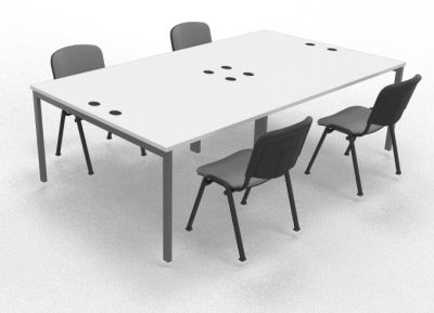 Sequest Four Person Table White Mood View