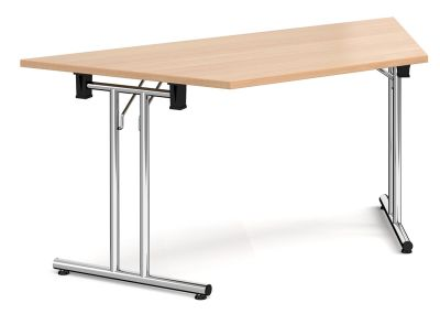 GMfolding Trapezoidal Table With A Beech Top And Chrome Legs