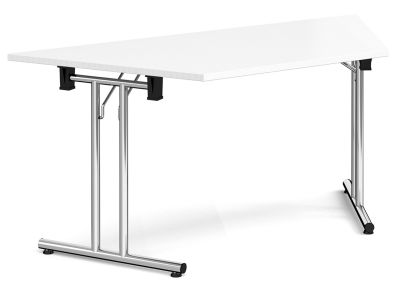 GM Folding Trapezoidal Table With A White Top And Chrome Frame