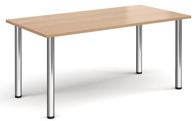 Rectangular Meeting Table With A Beech Top And Chrome Legs