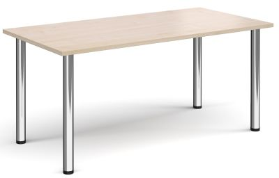 Rectangular Meeting Table With A Maple Top And Chrome Legs