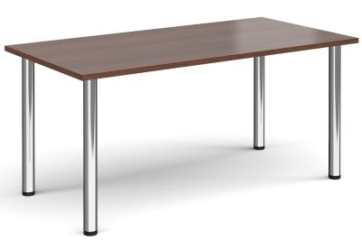 Radial Rectangular Meeting Table Wit A Walnut Top And Chrome Legs