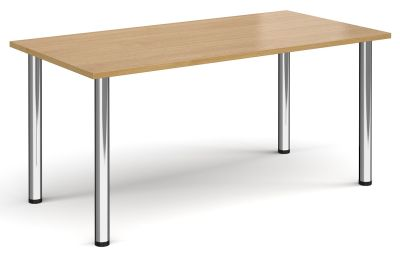 Radial Rectangular Meeting Table With An Oak Top And Chrome Legs