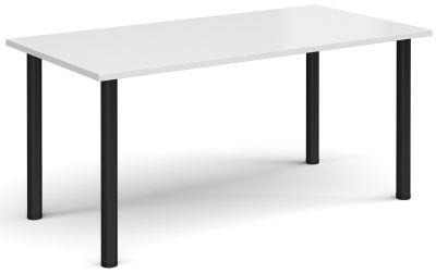 Radial Rectangular Meetimng Table With A White Top And Black Legs