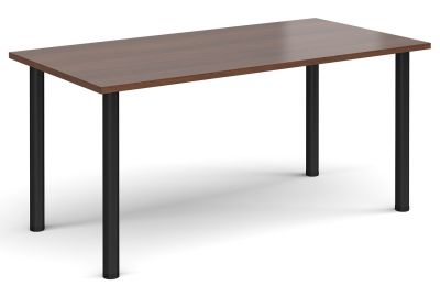 Rectangular Meeting Table With A Walnut Top And Black Legs