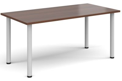 Radial Rectangular Meeting Table With A Walnut Top And White Legs