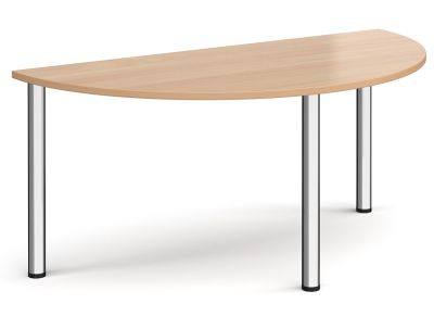 Radial Half Moon Table With A Beech Top And Chrome Legs