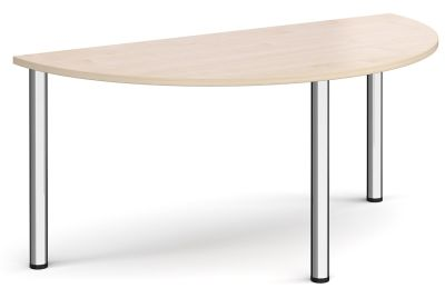 Radial Half Moon Table With A Maple Top And Chrome Legs