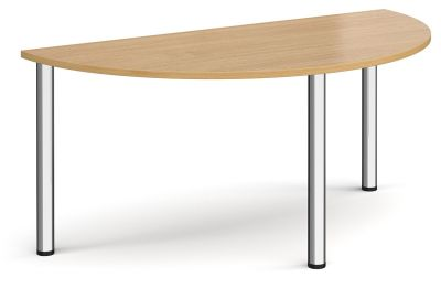 Radial Half Moon Tables With An Oak Top And Chrome Legs