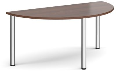 Radial Half Moon Table With A Walnut Top And Chrome Legs