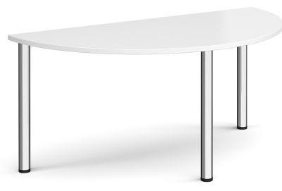 Radial Half Moon Table Witha White Top Andnd Chrome Legs