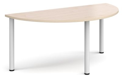 Radial Half Moon Table With A Maple Top And White Legs