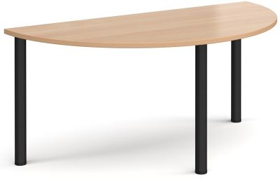 Radial Half Moon Table With A Beech Top And Black Legs
