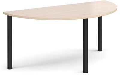 Radial Hjalf Mon Table With A Maple Top And Black Legs