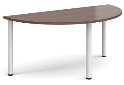 Radial Half Moon Table With A Walnut Top Qand White Legs