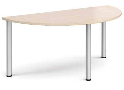 Radial Half Moon Table With A Maple Top And Silver Legs