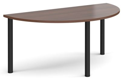 Radial Half Moon Table With Walnut Top And Blac K Legs