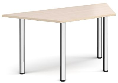 Trapezoidal Meeting Table With A Maple Top And Chrome Legs