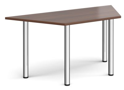 Trapezoidal Table With Walnut Top And Chrome Legs